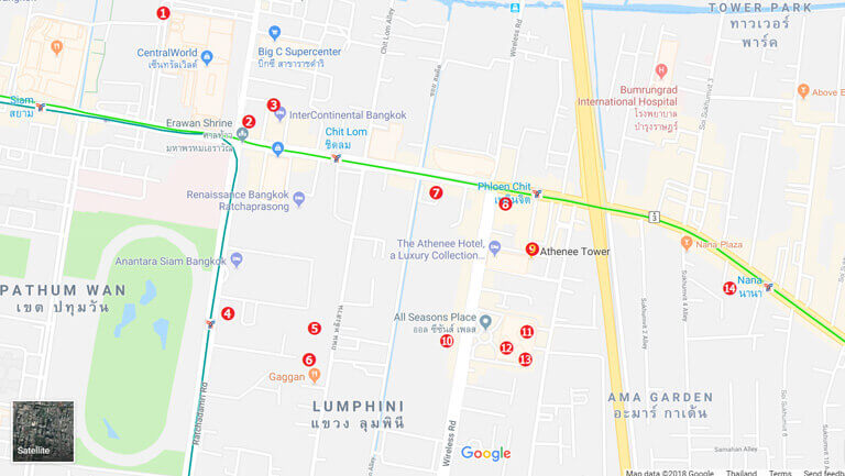バンコク オフィス エリア サイアム・チットロム・プルンチットエリアの地図