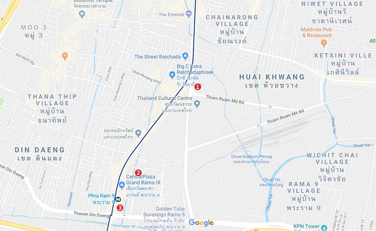 バンコク オフィス エリア ラマ9周辺の地図