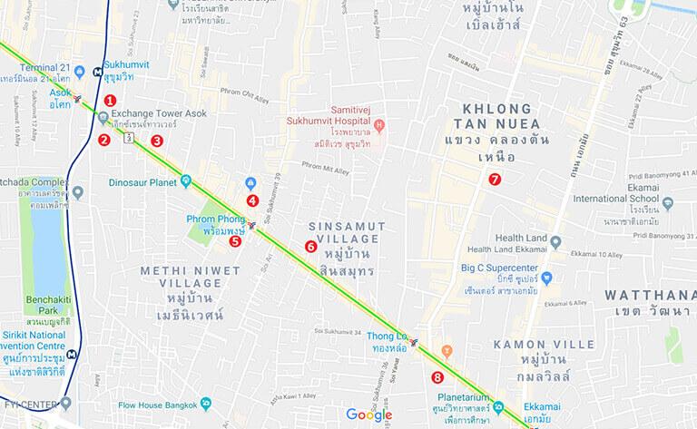 バンコク オフィス エリア スクムビットの地図