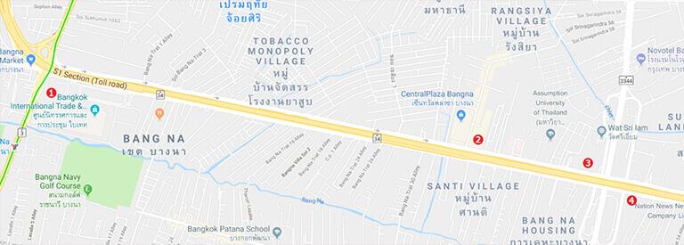 バンコク オフィス エリア バンナーの地図